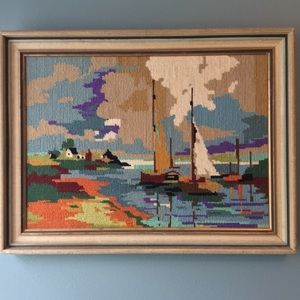 Vintage colourful crewel sailboat /water picture